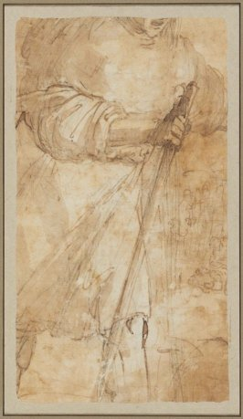 The Visitation (recto); Detail of an Arm Holding a Stick (verso)