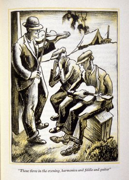 """These three in the evening, harmonica and fiddle and guitar "", on page 401 in the book, The Grapes of Wrath by John Seinbeck (New York: Limited Editions Club, 1940), vol. 2"