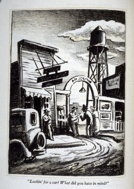 """Looking for a car? What did you have in mind?"", illustration on page 76 in the book, The Grapes of Wrath by John Steinbeck (New York: Limited Editions Club, 1940), vol. 1"