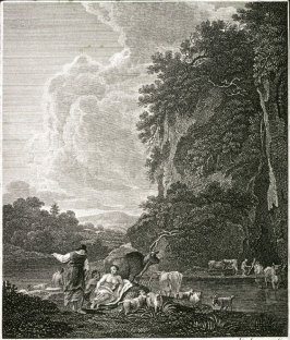 [Landscape with animals and herder]