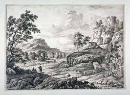(Landscape with people in foreground, rocks with buildings and ruins left and right)