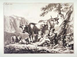 (Landscape with river, sheep and cattle with herdsmen...)