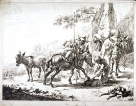 Untitled ( Three mules, two men and a dog)