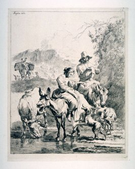 [Woman on a mule and a man on a horse,wading in a stream]