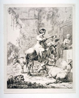 [Woman on a mule and two others]