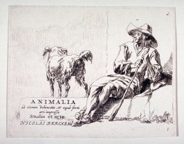 Title page, from the Set of the Goats (Animalia ad vivum delineata, et aqua forti ceri impressa Studio et arte Nicolai Berchemi)
