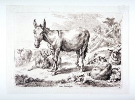 Donkey standing, sheep and shepherd and boy