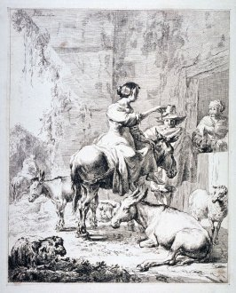 [Woman on a donkey with two others]
