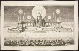 A View of ye Grand Theatre & Fireworks erected on ye Water near ye Court at ye Hague (on Occasion of ye General Peace concluded at Aix la Chapelle Oct 18. 1748) & Exhibited June 13 1749