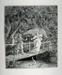 Angel appears in front of man on bridge