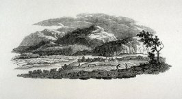 Mountainous Landscape with farmers working in foreground