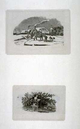 4 woodcuts: snowscene; fountain statue; wolf devouring sheep; farmhouse