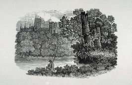 Man fishing in foreground, castle in background