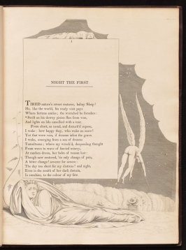 Night the First on page 1, second plate in the book The Complaint and the Consolation, or Night Thoughts by Edward Young (London: Richard Edwards, 1797)