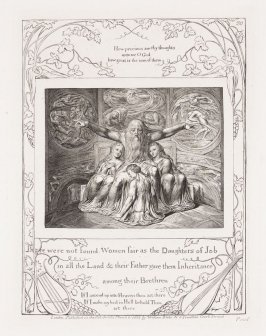 """Plate 20: """"There were not found women fair as the daughters of Job"""" from the complete proof edition of Blake's 'Book of Job'"""