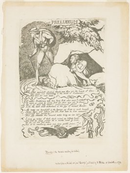 """""""Preludium""""(recto) and """"Famine"""" (verso) trial proofs on both sides for Blake's 'Europe: A Prophecy'"""