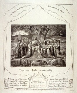 "Plate 1: ""Thus did Job continually"", from complete proof edition of Blake's 'Book of Job'"