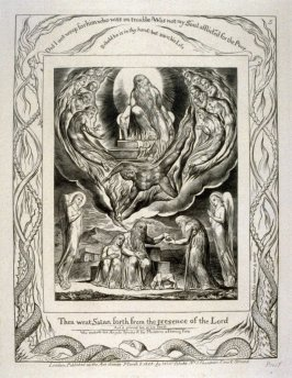 """Plate 5: """"Then went Satan forth from the presence of the Lord"""" from complete proof edition of Blake's 'Book of Job'"""