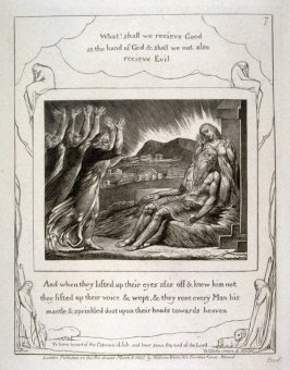 """Plate 7: """"And when they lifted up their eyes.."""" from the complete proof edition of Blake's 'Book of Job'"""