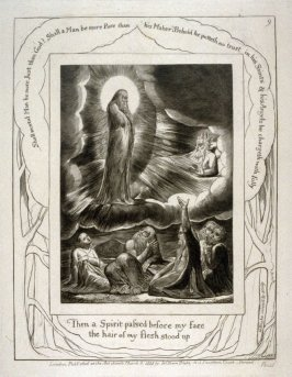 """Plate 9: """"Then a spirit passed before my face"""" from the complete proof edition of Blake's 'Book of Job'"""