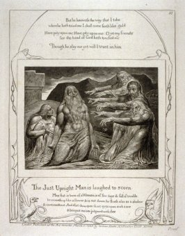 "Plate 10: ""The just upright man is laughed to scorn"" from the complete proof edition of Blake's 'Book of Job'"