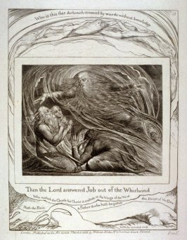 """Plate 13: """"Then the Lord answered Job out of the whirlwind"""" from the complete proof edition of Blake's 'Book of Job'"""
