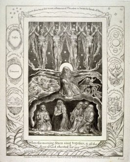 "Plate 14: ""When the morning Stars sang together"" from the complete proof edition of Blake's 'Book of Job'"