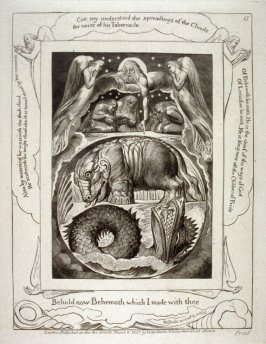 "Plate 15: ""Behold now Behemoth which I made with thee"" from the complete proof edition of Blake's 'Book of Job'"