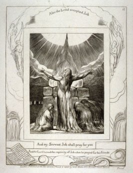 "Plate 18: ""And my servant Job shall pray for you"", from the complete proof edition of Blake's 'Book of Job'"