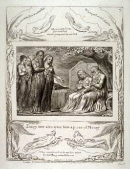 "Plate 19: ""Every one also gave him a piece of money"" from the complete proof edition of Blake's 'Book of Job'"