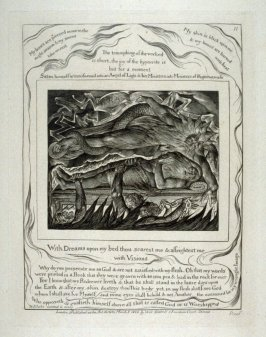 """Plate 11: """"With dreams upon my bed thou scarest me and afrightest me with visions"""" from complete proof edition of Blake's 'Book of Job'"""