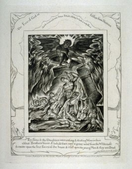 "Plate 3: ""The Fire of God is Fallen from Heaven,"" from complete proof edition of Blake's 'Book of Job'"