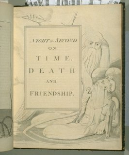 Title page to Night the Second on unnumbered page 17 , eleventh plate in the book The Complaint and the Consolation, or Night Thoughts by Edward Young (London: Richard Edwards, 1797)