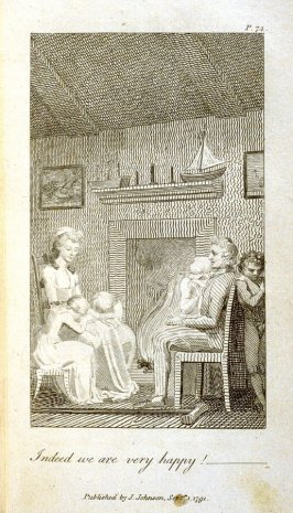 Indeed we are very Happy!, plate opposite p. 74 in the book Original Stories from Real Life … to… Form the Mind to Truth and Goodness by Mary Wollstonecraft (London: J. Johnson, 1791)