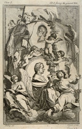 Title page illustration from The Works of Alexander Pope (London, 1751), vol. 1, plate 1