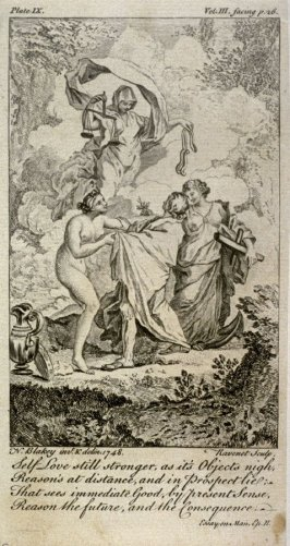 Self Love still stronger, as it's Objects nigh, Reason's at distance, and in Prospect lie, from The Works of Alexander Pope (London, 1751), vol. 3, plate 9