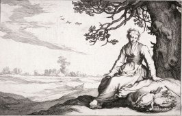A Young Woman Under a Tree, from set of four genre subjects