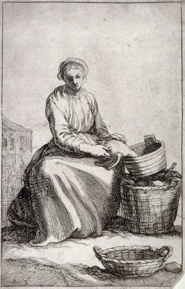 A Seated Young Peasant Woman. Plate 22 from a series of 30 plates; The Set of the Beggars