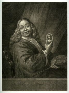 Self-Portrait of Bartholomeus van der Helst holding a miniature portrait of his wife Constantia Reynst
