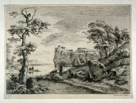 (Landscape with goat herder, goat, and man seated on the ground)