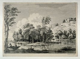 (Landscape with two figures in a boat, front left foreground)
