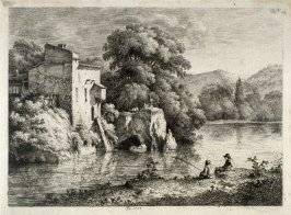 (Landscape with two men fishing in the foreground)