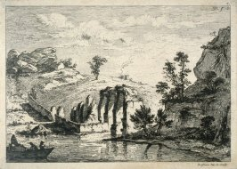 (Landscape with ruins and boat with three people in it)