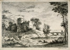 (Landscape with figure fishing, figure on a mule and a bridge in the background)