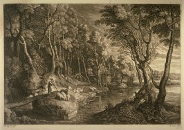 Landscape with shepherd and flock on river bank
