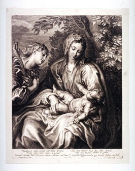 The Virgin with Jesus on her lap and a woman saint, looking at Child; St. Catherine adoring the Christ child seated on the lap of the virgin