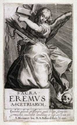 (Title Page of the Anchoresses: An Angel and Attributes of Asceticism to Female Hermits) A series of 25 engravings of the Hermits
