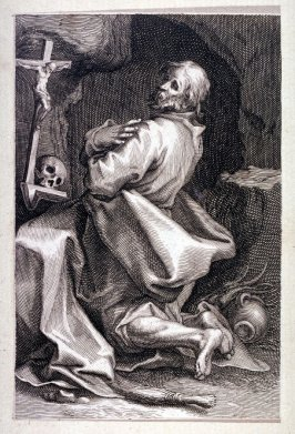 St. Marcarius of Alexandria (St. Jacobus) (from a series of 25 engravings of the Hermits)