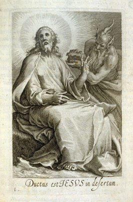 Temptation of Christ. Ductus est JESUS in desertum, plate 1 in the first series in the book, Sylva Anachoretica Aegypti et Palaestinae (Antwerp: Hendrik Aerts,1619) [ containing two series, Sacra Eremus Ascetarum and Sacra Eremus Ascetriarum]