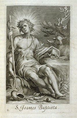 St. John the Baptist. S. Joannes Baptista, plate 2 in the first series in the book, Sylva Anachoretica Aegypti et Palaestinae (Antwerp: Hendrik Aerts,1619) [ containing two series, Sacra Eremus Ascetarum and Sacra Eremus Ascetriarum]